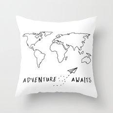 Adventure Map on White Throw Pillow