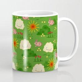 Brown bunnies in a flower field Coffee Mug