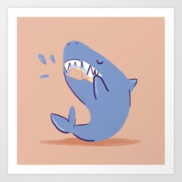 Teeth brushing shark Art Print