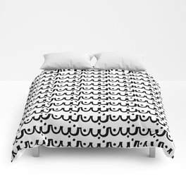 Abby - abstract scallop black and white minimal modern pattern print painting urban hipster dots Comforters