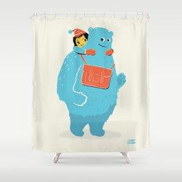 Blue-Monster Piggy-Ride Shower Curtain