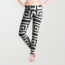Black & white modern greek motifs tiles pattern Leggings