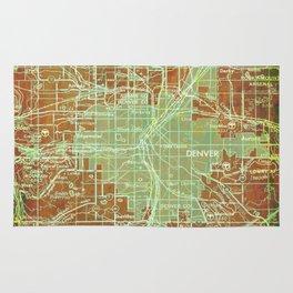Denver Colorado map, year 1958, orange and green artwork Rug