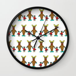 Cute christmas buddies pattern Wall Clock