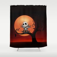 jack skellington Shower Curtains featuring Jack Skellington Nightmare by neutrone
