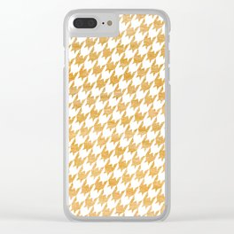 Orange Houndstooth pattern Clear iPhone Case
