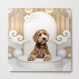 Goldendoodle Golden Background Photo Collage Metal Print