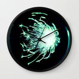 Teal Glitter Firework In Sphere Wall Clock