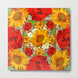 RED POPPY FLOWERS & SUNFLOWERS ARTWORK Metal Print