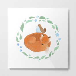 Fox and Bird Metal Print