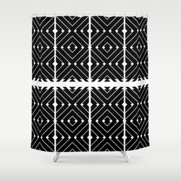 MONOCHROMA Geometrica : Black & White Box Pattern Shower Curtain