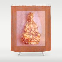 budi satria kwan Shower Curtains featuring Rose-Bronze Kwan Yin by Jan4insight