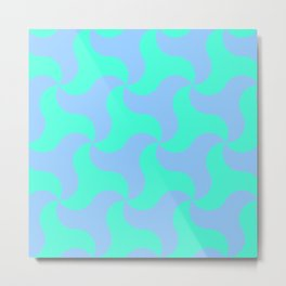 Neon teal shark tooth pattern for the beach Metal Print
