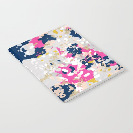 Michel - Abstract, girly, trendy art with pink, navy, blush, mustard for cell phones, dorm decor etc Notebook