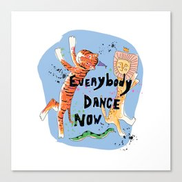Everybody Dance Now! Lion, Tiger, Snake Jungle Dance Party Canvas Print