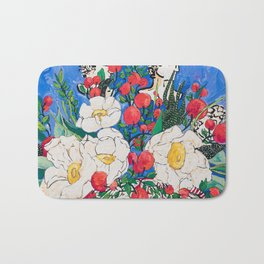 Horse Urn with Tiny Apples and Matilija Queen of California Poppies Floral Still Life Bath Mat