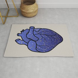 Space love / cosmic gold stars pattern on blue tattoo heart Rug