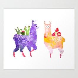 Llama Party Art Print