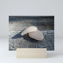Two White Sea Glass Pieces on Grey Wood Mini Art Print