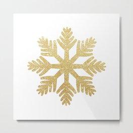 Gold Glitter Snowflake Metal Print
