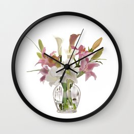 vase and flowers on white background . artwork Wall Clock