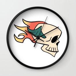Flaming Flying Skull Wall Clock