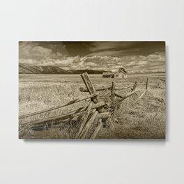 Sepia Tone of Farm on Mormon Row in the Grand Teton National Park Metal Print