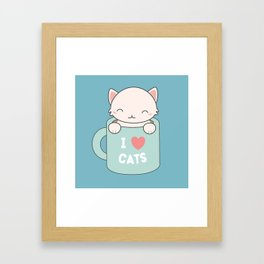 Kawaii Cute I Love Cats Framed Art Print