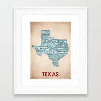 texas Framed Art Prints featuring Texas by Wordmaps