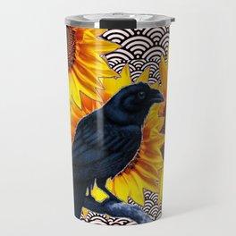 Modern Art Black Crows Sunflowers Pattern Design Travel Mug