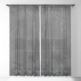 Silver Geometric Modern Pattern Trendy Black Marble IV Sheer Curtain