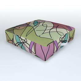 Pattern Within A Pattern Multi Colored Green Outdoor Floor Cushion
