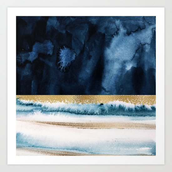 Navy Blue, Gold And White Abstract Watercolor Art by gardenofdelights