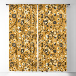Freestyle Fall Floral in Ochre Blackout Curtain