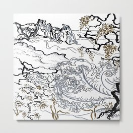 Asian Landscape in Silver and Gold Metal Print