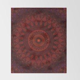 Dark and light red mandala Throw Blanket