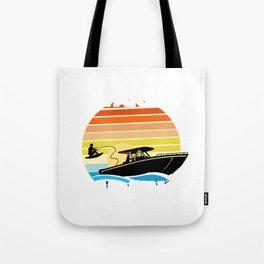 Retro Wake Surfing Gift Print Vintage Boat Lake Wakesurfing Print Tote Bag