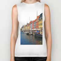 "copenhagen Biker Tanks featuring New Port ""Copenhagen"" by Alan Pary"