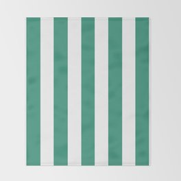 Illuminating emerald green - solid color - white vertical lines pattern Throw Blanket