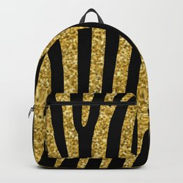 Gold glitter black zebra pattern Backpack