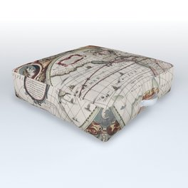 Vintage Maps Of The World Outdoor Floor Cushion