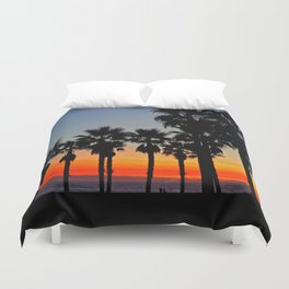 Huntington Beach Sunset Palms     ~    12/13/13 Duvet Cover