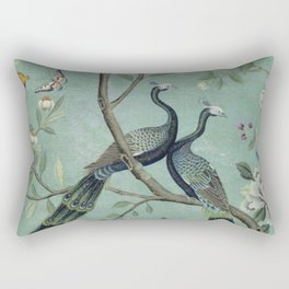 A Teal of Two Birds Chinoiserie Rectangular Pillow