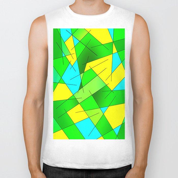 ABSTRACT LINES #1 (Greens, Yellow, Light Blue-Aquamarine) Biker Tank