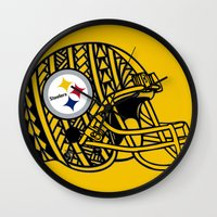 steelers Wall Clocks featuring Polynesian style Steelers by Lonica Photography & Poly Designs