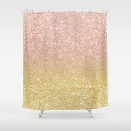 Modern rose gold glitter ombre gold glitter Shower Curtain