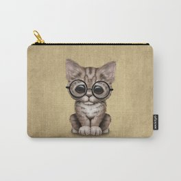 Cute Brown Tabby Kitten Wearing Eye Glasses Carry-All Pouch