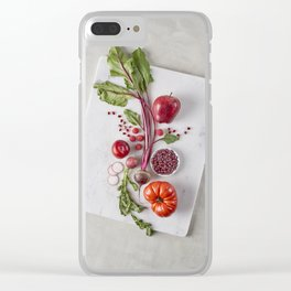 Red Organic Fruits and Vegetables Clear iPhone Case