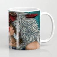 princess mononoke Mugs featuring .:Princess Mononoke:. by Kimberly Castello
