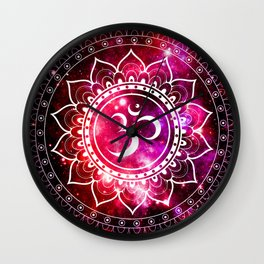 Ohm Mandala : Galaxy Mandala Red Fuchsia Pink Wall Clock